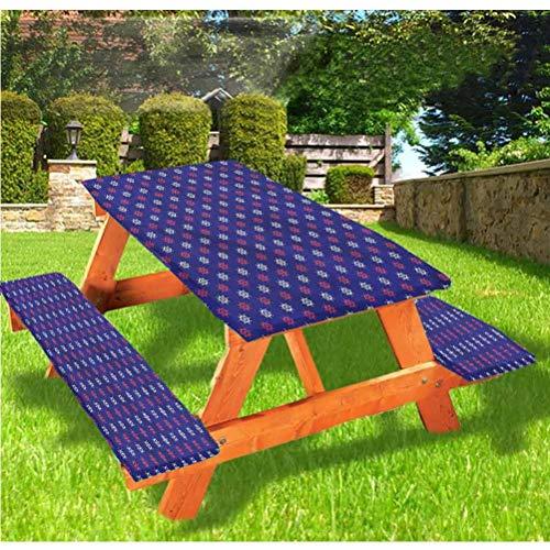 Mantel ajustable para mesa de picnic y banco, con borde elástico de crucero, 28 x 72 pulgadas, juego de 3 piezas para camping, comedor, exterior, parque, patio