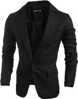 Legou Men's One Button Flap Pockets Solid Blazer Jacket