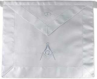 Imason Masonic Master Mason White Apron Square Compass with G - Synthetic Leather