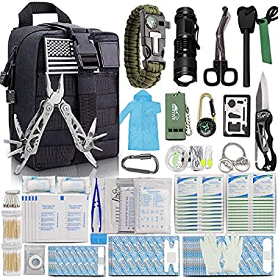 Monoki First Aid Survival Kit, 302Pcs Tactical Molle EMT IFAK Pouch Outdoor Gear EDC Emergency Survival Kits First Aid Kit Trauma Bag for Hiking Camping Hunting Car Travel or Adventures-Black
