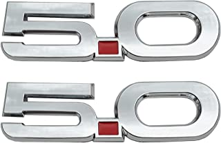 2Pc 5.0 Emblem, 3D Badge Fender Badge Snap Type Decal Replacement for 2015-2017 Mustang GT 5.0 (Chrome)