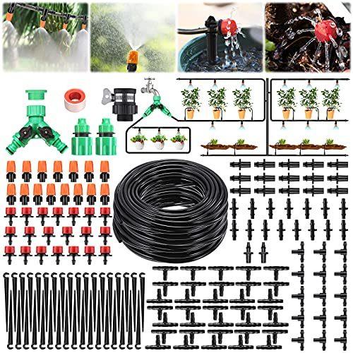 Pathonor 40m/131ft Drip Irrigation System Garden Watering Kits Adjustable...