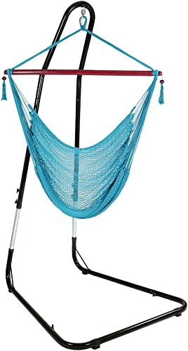high quality Sunnydaze Hanging wholesale Rope Hammock Chair Swing with Stand - Caribbean Style Extra Large Hanging Chair with Adjustable Stand - 300 Pound Capacity - outlet sale Sky Blue sale