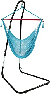 Sunnydaze Hanging Rope Hammock Chair Swing with Adjustable Stand, Extra Large Caribbean, Sky Blue - for Indoor or Outdoor Patio, Yard, Porch, and Bedroom