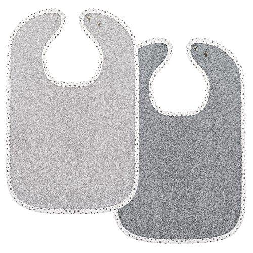 Set de 2 baberos para bebé Wörner - baberos de rizo con botón a presión ajustable | extra largo, absorbente, Certificado OekoTex - 100% algodón - Estrellas Gris