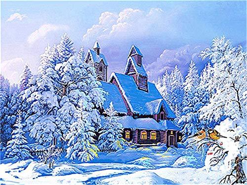 Pintura de diamante de invierno 5d DIY nieve diamante bordado mosaico paisaje decoración hecha a mano pintura de diamante A4 60x80cm