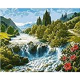 asasI9 Alpine Wasserfall Home Art, schöne Landschaft Ölgemälde von Ihnen selbst gemacht Helle...