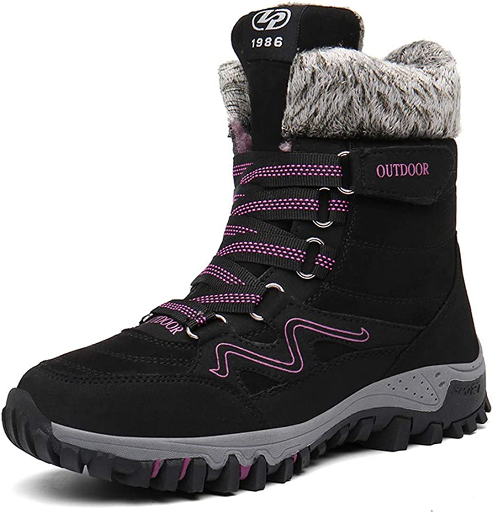 Womens Winter Snow Boots Warm Fur Lined Anti-Slip Ankle Hiking Booties Outdoor Walking Shoes Non-Slip Trekking Shoes