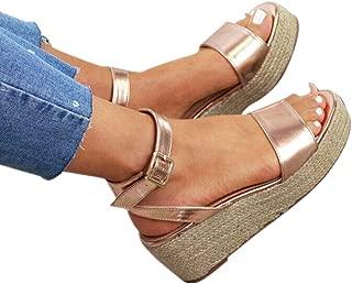 Wedges Sandals,Women's Open Toe Leopard Print Ankle Strap Buckle Platform Wedges Espadrilles Flatform Roman Shoes