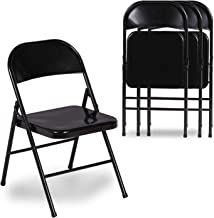 VECELO Folding Chair Triple Braced & Double Hinged Back with Metal Frame for Home Office, Black
