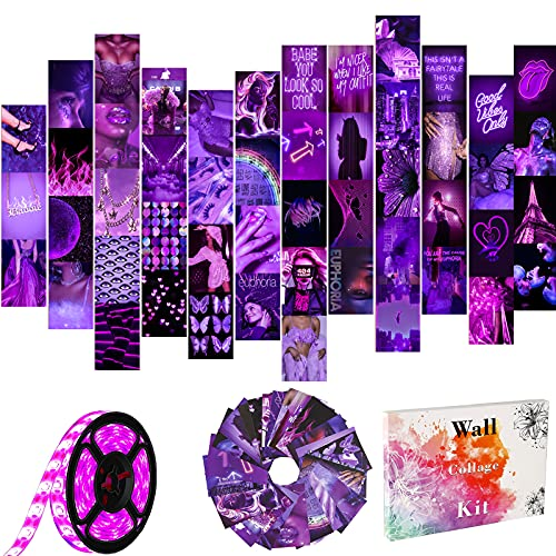 Wall Collage Kit Purple, Aesthetic Room Decor with LED Strip Lights, Posters for Room Aesthetic, Indie Preppy Photo Wall Decorations for Teen Girls, Dorm Trendy Wall Art, 50 Set 4x6 inch