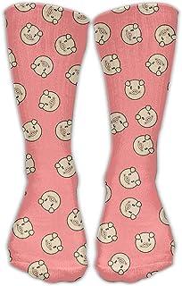 Bigtige, Hombres Mujeres Clásicos Calcetines de equipo Cute Funny Cartoon Pig Face Pink Calcetines deportivos personalizados 50cm de largo-Toda la temporada
