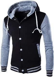 Men's Color Block Baseball Hoodie Long Sleeves Button Close Varsity Jackets