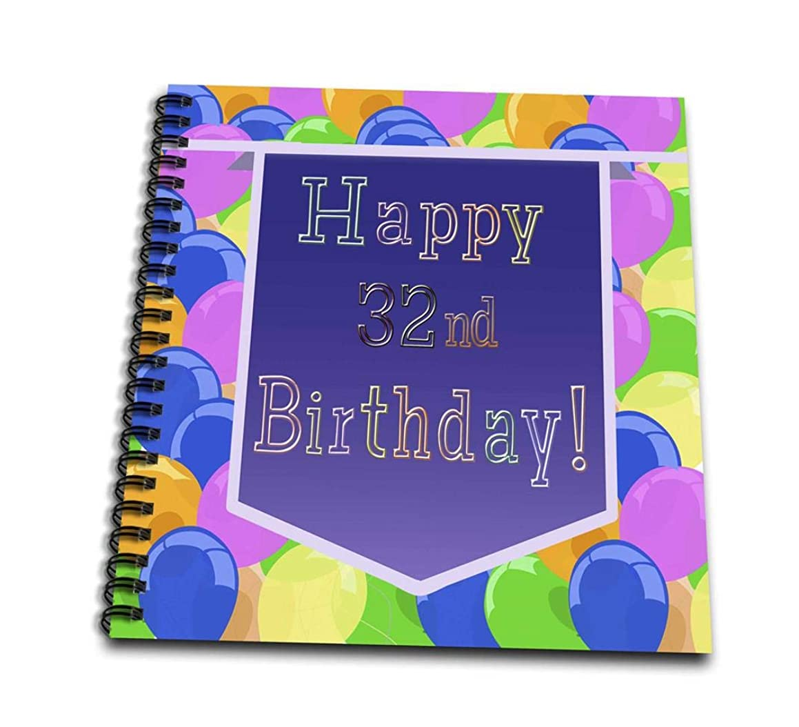 3dRose db_174138_1 Balloons with Purple Banner Happy 32Nd Birthday Drawing Book, 8 by 8-Inch