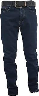 Jeans Uomo 5 Tasche Invernale Imbottito in Pile Caldo Foderato Elastico 46-60 Termico Scuro a Vita Alta Denim
