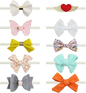 10 Pcs Baby Headbands Hair Bows Nylon Hairbands Hair Accessories for Baby Girl Newborn Kids Toddlers Infant
