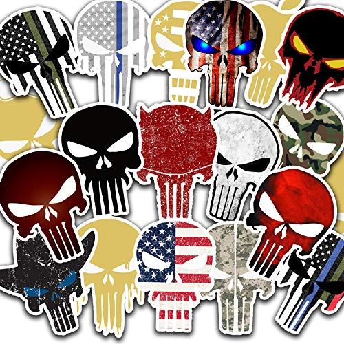 Punisher Sticker Skull Vinyl Hard Hat & Helmet Decal Pack of 19 pcs