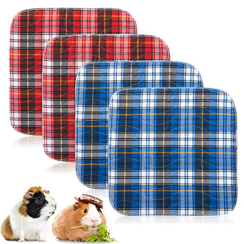 "Geegoods Guinea Pig Cage Liners Guinea Pig Bedding Washable &Air Dried Pee Pads for Guinea Pig Fast Absorbent Waterproof Reduce Shrinkage Non-Slip (12""x 12""x4)"