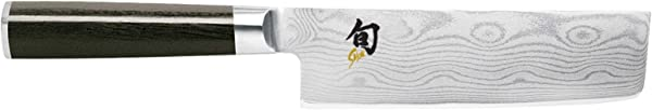 Shun Cutlery Classic 6 5 Nakiri Knife Kitchen Knife Handcrafted In Japan Hand Sharpened 16 Double Bevel Steel Blade For Swift And Easy Precision Work Beautiful D Shaped Ebony PakkaWood Handle