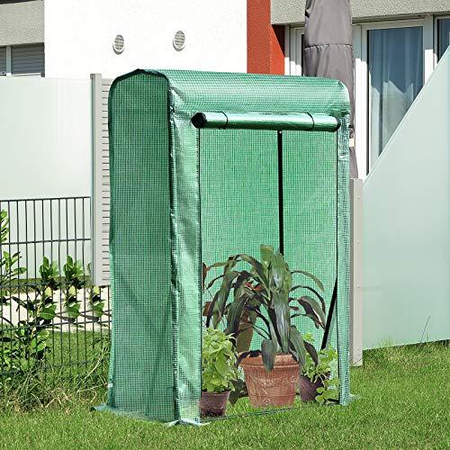 Outsunny Invernadero de Jardín Terraza para Huerto en Casa 100x50x150cm Color Verde Tubo de Acero y PE