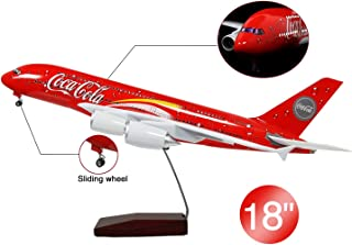 Lose Fun Park COCA Airbus A380 1:160 Model Airplane with LED Light and Landing Gear