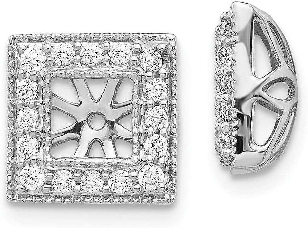 Affluent Rock 14k White Gold Diamond Square Jacket Earrings (0.39