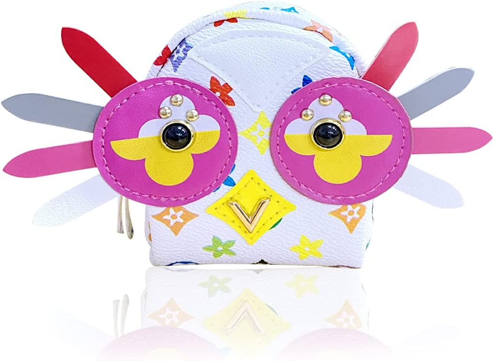 Owl Mini Backpack Leather Coin Purse - Owl wallets for women zipper - Cosmetic bag / wallet purse / Cable Pouch / USB Organizer, for Women kids Purse With Handmade bag Friend Gift (White)