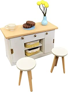 Inusitus DIY Dollhouse Miniature Kitchen Counter Set   Miniature Furniture   Dolls House Kits   Requires Assembly   1/18 Scale (Kitchen-Island-White)