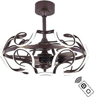 XMYX Creative Ventilador de Techo Moderno LED Lámpara de Techo con Mando a Distancia Ventilador Reversible Luz Silencioso Ventilador de Techo, Hierro Forjado, 132W, 66 cm Diámetro