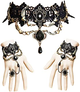 Jurxy Conjunto de Collar de Gargantilla de Encaje con Pulsera Punk Fiesta Gótico Hecho a Mano Vampiro Victoriano Esclavo Retro Lolita Colgante Collar Pulsera Pulsera para Mujeres Negras Estilo 2