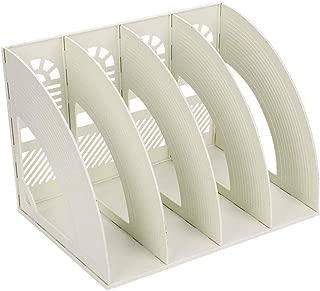 Desk File Organiser,SAYEEC Sturdy Desktop 4 Section Magazine Plastic Holders Frames File Dividers Document Cabinet Rack Display and Storage Organiser Box(Beige)