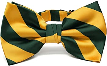 TieMart Hunter Green and Golden Yellow Striped Bow Tie