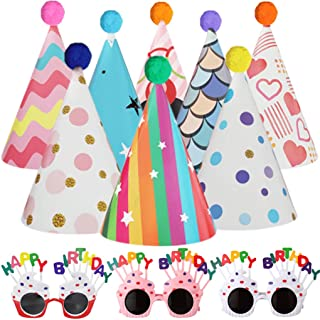 Birthday Party Hats & Birthday Party Glasses - Fun Celebration Kit of 8Pcs Colorful Cone Party Hats and 3Pcs Happy Birthda...