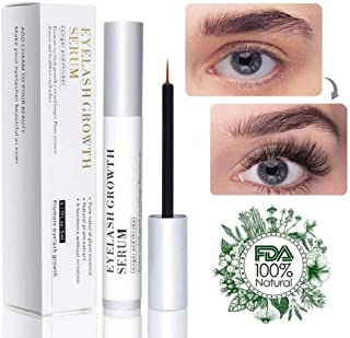 Natural Eyelash Growth Serum Enhancer Brow & Lash Serum Enhancing Formula & Rapid Brow Serum Growth Treatment for Longer, Thicker Eyelashes and Eyebrows 5ML