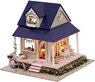 XYZMDJ Dockhus miniatyr gör-det-själv hus kit kreativt rum med möbler för romantiskt konstverk gåva