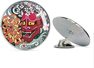 Beautiful Abstract Japanese Art Oni Horned Demon Mask Cartoon Round Metal 0.75