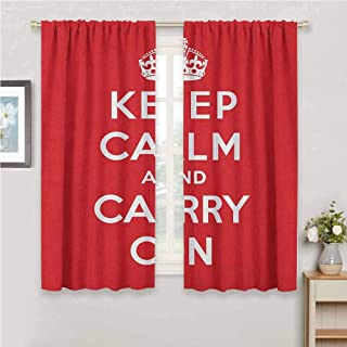 Jinguizi Keep Calm Curtain Panels Red and White Composition with Keep Calm and Carry On Text and a Royal UK Crown Blackout Curtain Red White 63 x 45 inch