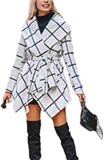 Macondoo Women's Mid Long Fashion Lapel Coat Jacket Plaid Woollens Overcoat