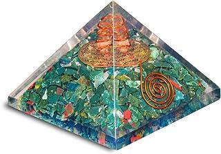 PREK Blood Stone orgone Pyramid with Metal Flower of Life symbolchakra Balancing Size 2.5-3 inch