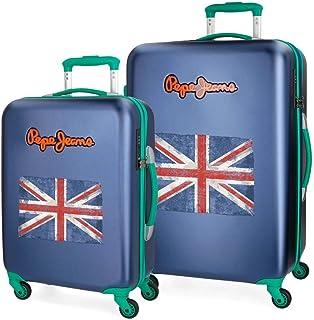 Pepe Jeans Bristol Set de Bagages Bleu 55/67 cms Rigide Serrure TSA 101L 4 roues Bagage à main