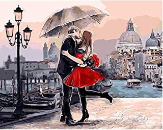 OILPHL Colour by Numbers for Adults Romantic Couple Kiss Gift for Friend DIY Painting 40X50Cm No Frame