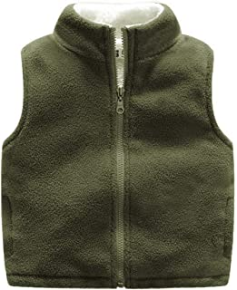 Warm Sweater Vest for Kids 3-10 Years in Autumn Winter and Spring, Solid Color Zipper Fleece Thick Sleeveless Jacket