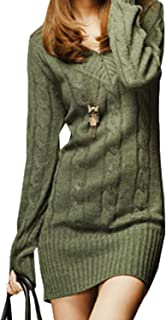 Vestido De Punto Mujer Elegantes Vintage Otoño Invierno Jersey Largo Manga Larga Mode De Marca V Cuello Casuales Grueso Sl...
