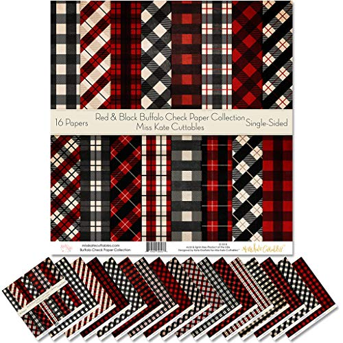 Pattern Paper Pack - Red & Black Buffalo Check - Christmas - Scrapbook Specialty Paper Single-Sided 12'x12' Collection Includes 16 Sheets - by Miss Kate Cuttables