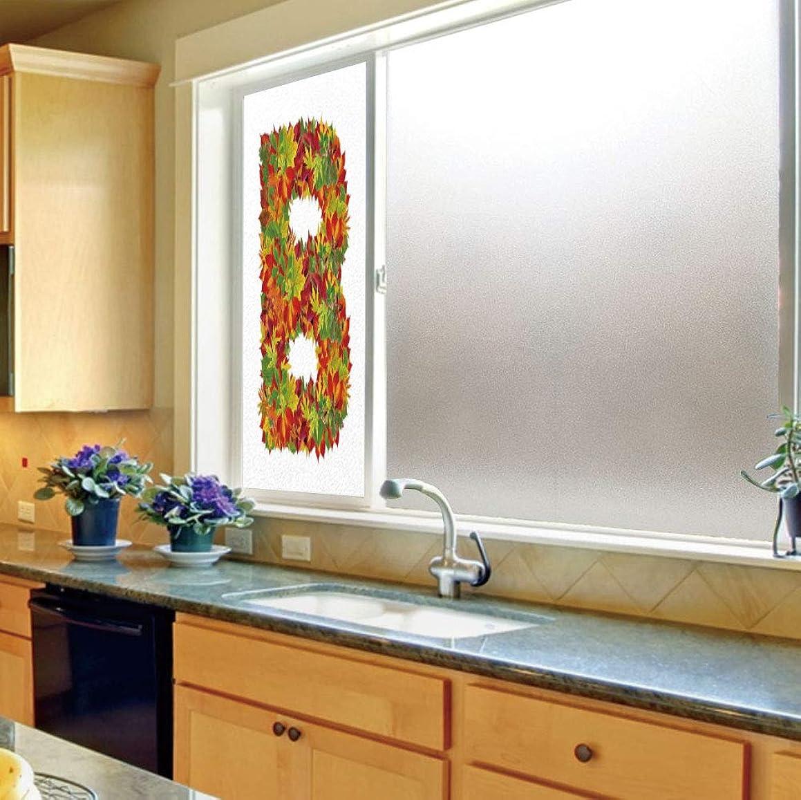 YOLIYANA Control Heat and Anti UV Window Cling,Letter B,Reduce Heat, Glare and Block Out Harmful UV Rays,Seasonal Leaves Fall Color Alphabet Capitalized B Symbol,24''x70''