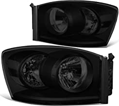 Pair Tinted Housing Clear Side Front Bumper Driving Headlight Lamps for 06-09 Dodge Ram Truck