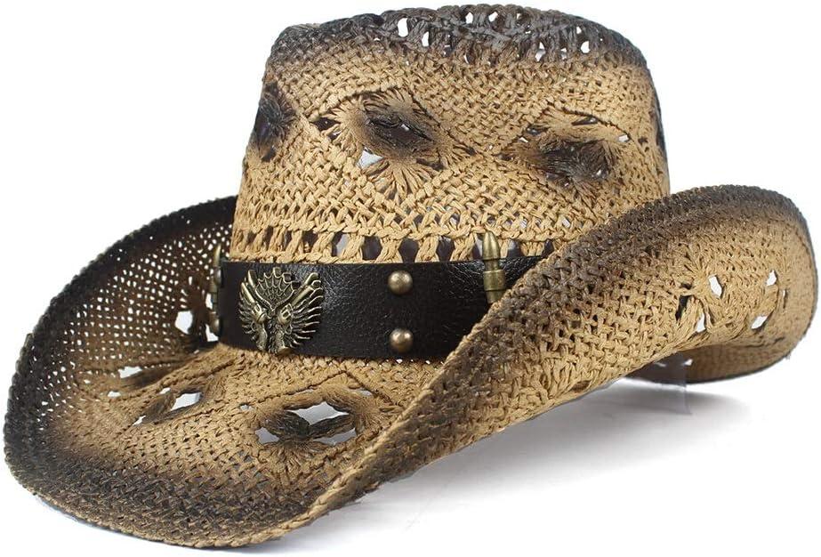 Men's Wide Brim Straw Beach Cowboy Western Cowgirl Women's Max 41% OFF Colorado Springs Mall H Hat