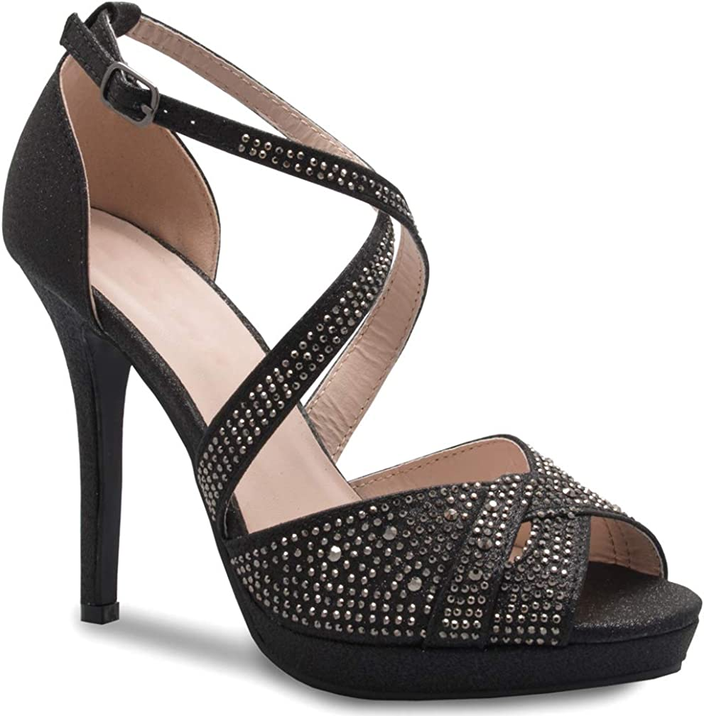 OLIVIA K Womens Sexy Challenge the lowest service price of Japan ☆ Rhinestoned Cross - Sandals Strap Heeled Dr