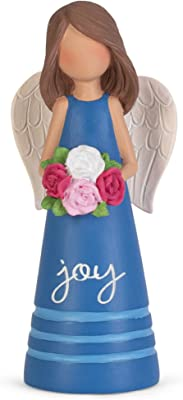 Dicksons Blue Joy Angel with Flowers 3.5 inch Resin Decorative Tabletop Figurine