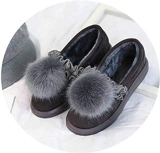 家の靴綿のスリッパ女の子の靴毛皮のスリッパ秋のスリッパ冬の厚い底の靴,35〜36(34〜35ヤードの着用に適しています),灰色